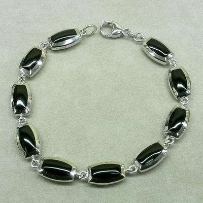 Sterling Silver Black Agate / Mother of Pearl Link Bracelet