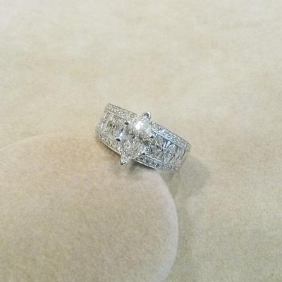"""Platinum """"Marquise"""" Diamond Engagement Ring"""