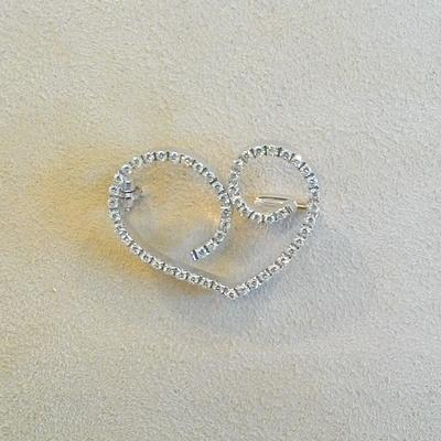 18KW Diamond Heart Pin