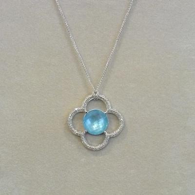 "18KW 18"" Swiss Blue Topaz Diamond Flower Pendant"