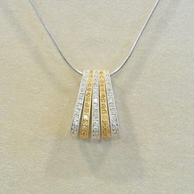 Stunning 18KW Yellow Diamond Pendant