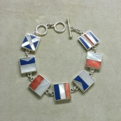 "Sterling Silver ""Chatham"" Nautical Flag Bracelet"