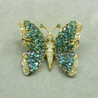 18KY Paraiba Tourmaline/Diamond Butterfly