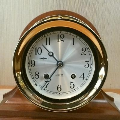 "4-1/2 "" Brass Ships Bell Key Wound Clock"