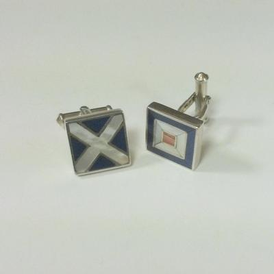 Sterling Silver Nautical Flag Cuff Links
