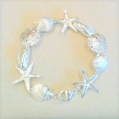 "Sterling Silver 7"" Multi-Shell Bracelet"