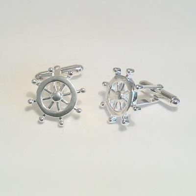 S/S Ships Wheel Cuff Links