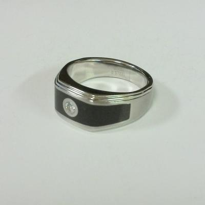 St.St. Black Enamel Ring w/Dia.