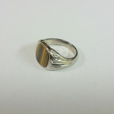 18KW Tiger Eye M. Signet Ring