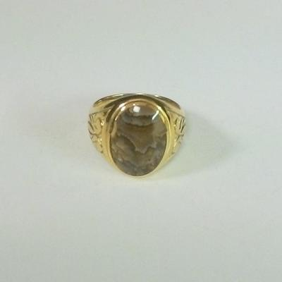 14KY Oval Picture Jasper M. Ring