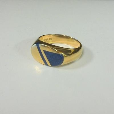 14KY Gold Lapis-set Gent's Ring
