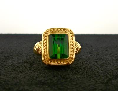 Green Tourmaline Ring - Bezel-set