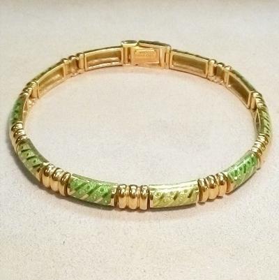 18KY Green Enamel Bracelet