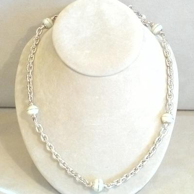 "S/S 35.5"" Ivory Enamel Bead Necklace"