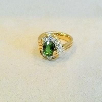 18KY Tourmaline/Diamond Ring