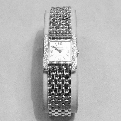 14KW L. Sq. Face Watch w/Diamonds