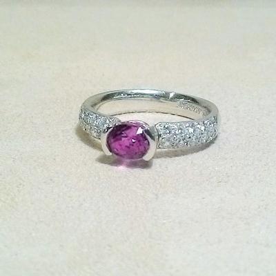 Platinum Pink Sapphire/Diamond Ring