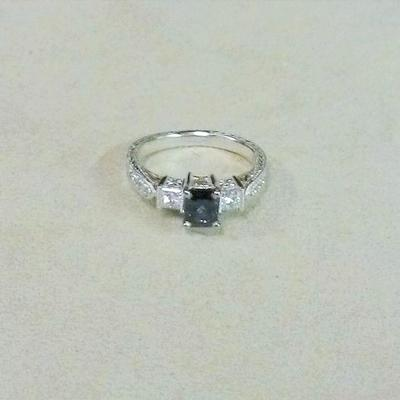 18KW/Y Emerald Cut Sapphire/Diamond Ring