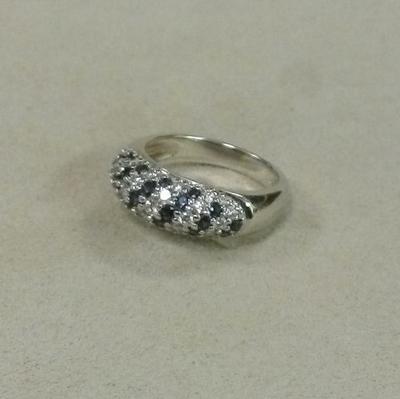 18KW Sapphire Diamond Dome Ring