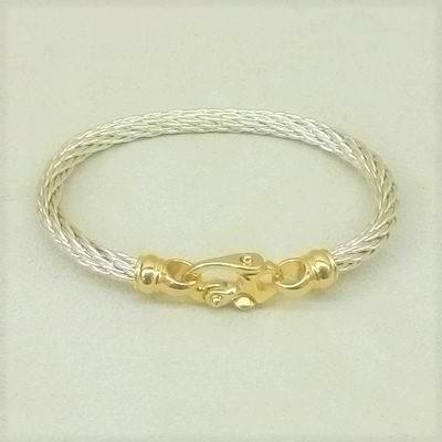 S/S Cable Bracelet w/14KY Clasp
