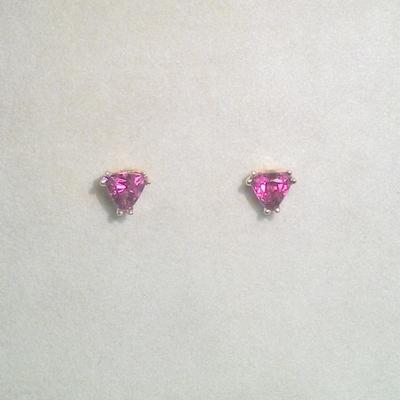 14KY Trillion Rubellite Pierced Earrings