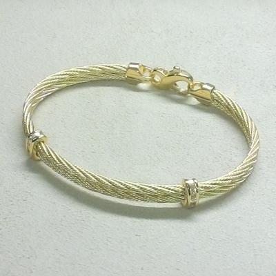 14KY Double Cable w/Diamonds Bracelet