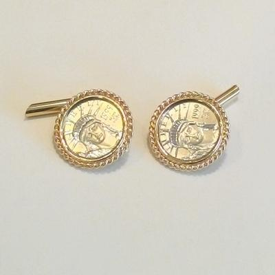 14KY Platinum 1999 Coin Cuff Links