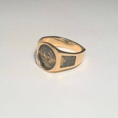 14KY White Tail Deer Gents Ring