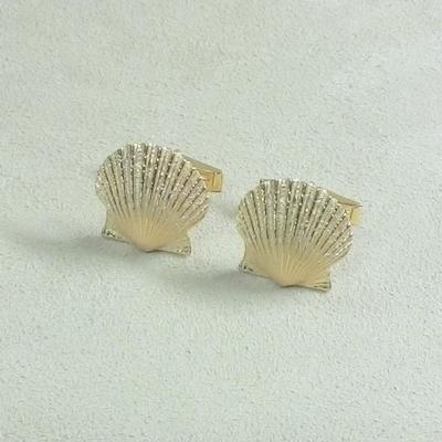 14KY Scallop Shell Cuff Links