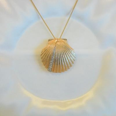 14KY Scallop Shell Pin/Pendant