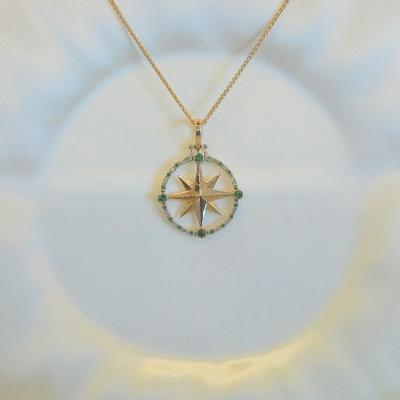 14KY Diamond/Emerald Compass Rose Pendant