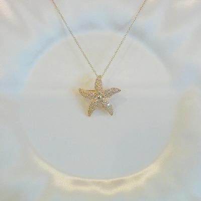 18KY Diamond Starfish Pin/Pendant