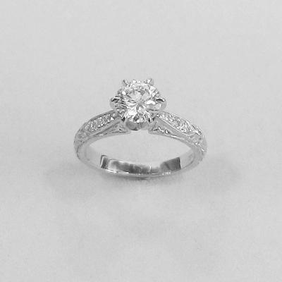 Platinum Diamond Engagement Ring w/engraved band
