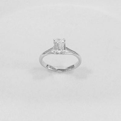 Platinum Emerald Cut-Diamond Engagement Ring