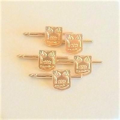 14KY Set of 5 Shield Charm Cuff Links