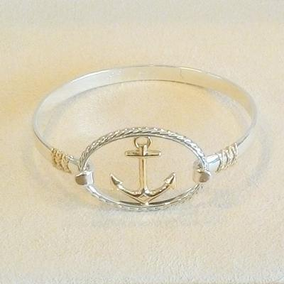 S/S -14KY 6.5 Open Bangle w/ Rope. The S/S-14KY Anchor top is sold separtely.