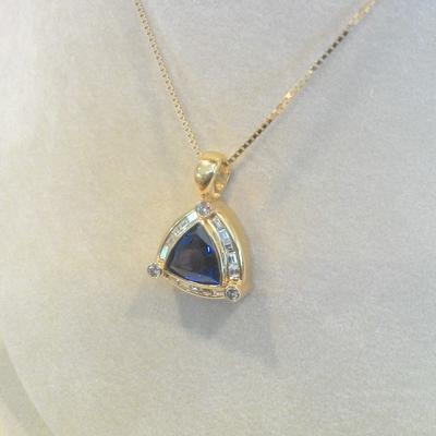 14KY Tanzanite/Diamond Pendant