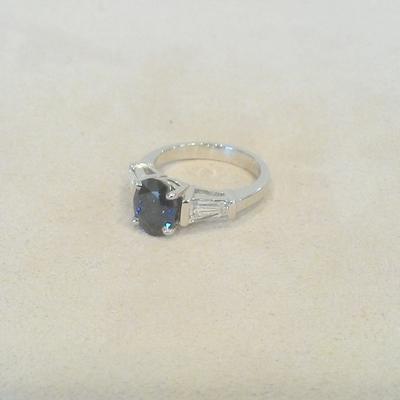 Platinum/Sapphire/Diamond Ring