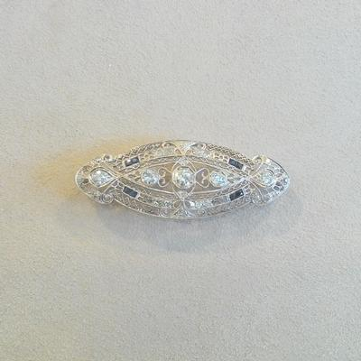 Platinum Filegree Diamond Plaque Pin