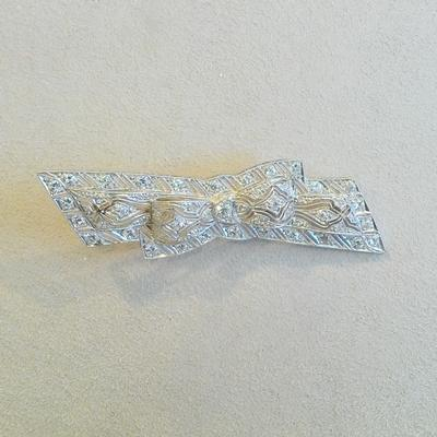 Platinum Diamond Bow Pin