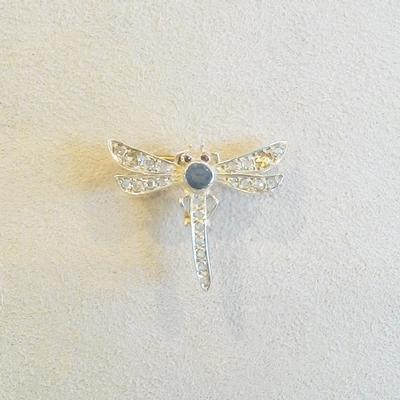 Sterling Silver Vermeil/Gemstone Dragonfly Pin
