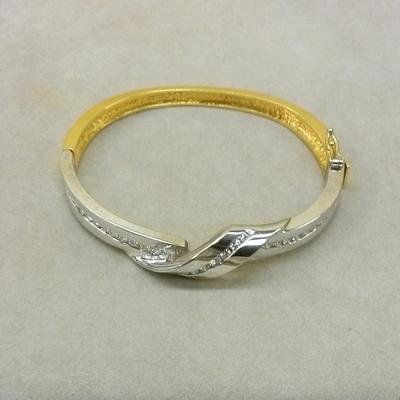 Two-Tone Diamond Ribbon Hinged Bracelet