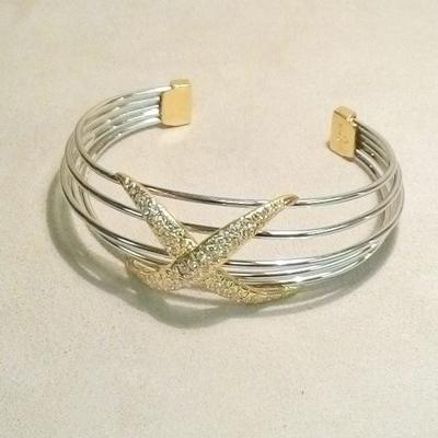 Two-Tone Diamond X Cuff Bracelet