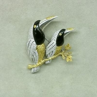 Unique Diamond Double Bird Brooch