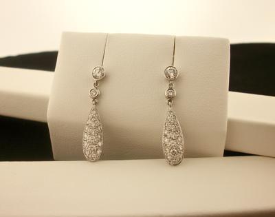 Diamond Drop Pierced Earring