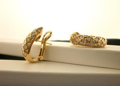 Diamond Domed Hoop Pierced Earring