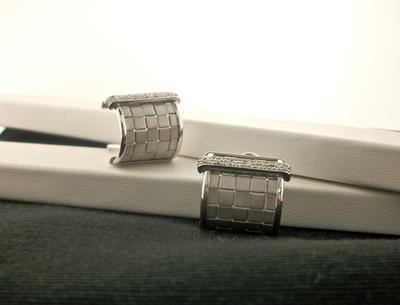 Diamond Woven Half-Hoop Earrings