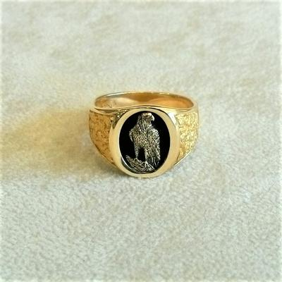 14K Yellow Gold Standing Eagle Ring