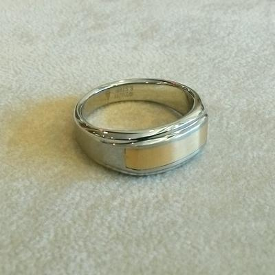 St. Steel/14K Yellow Gold Inlay Ring