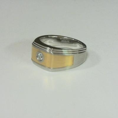 St.Steel - 14KY Inlay  Diamond Ring